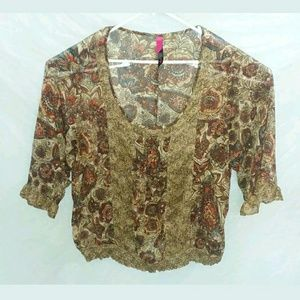 Pure Energy Brown Floral Plus Size 4X Top